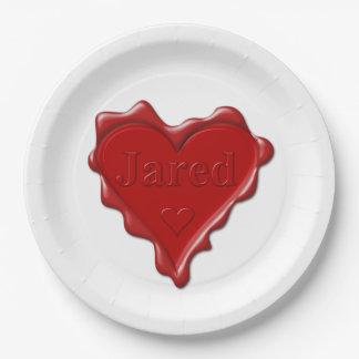 Jared. De rode verbinding van de hartwas met naam Papieren Bordje