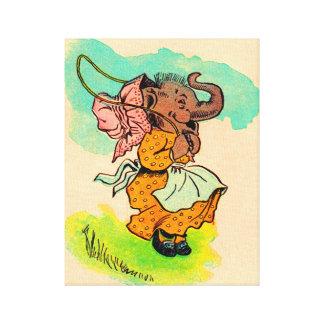 jaren '30 gekleed olifant het spelen springtouw canvas afdruk