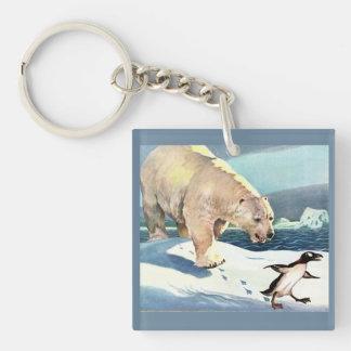 jaren '40 ijsbeer en pinguïn sleutelhanger