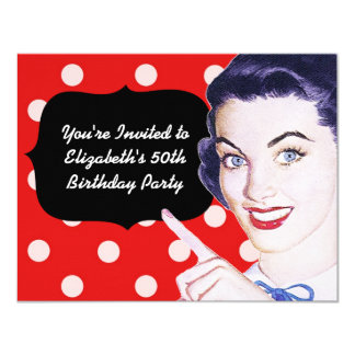 jaren '50 die de Verjaardag van de Vrouw richten 10,8x13,9 Uitnodiging Kaart
