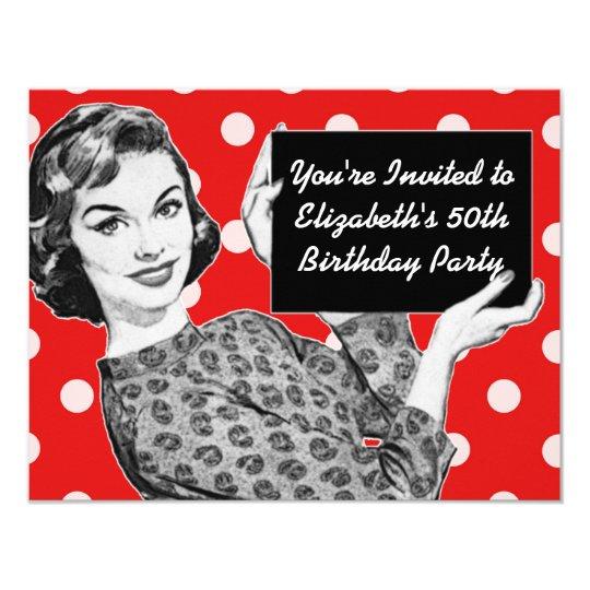 Jaren 50 Vrouw Met Een Verjaardag Van Het Teken Kaart Zazzle Nl