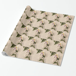 jasmijn bloemen en lelie met manuscript die pape inpakpapier