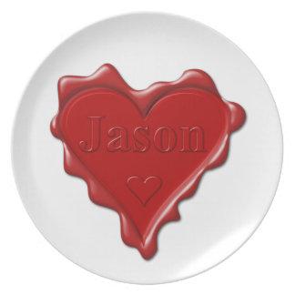 Jason. De rode verbinding van de hartwas met naam Bord
