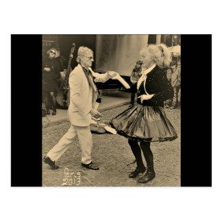 Jazz die in Rue Mouffetard Paris dansen Briefkaart