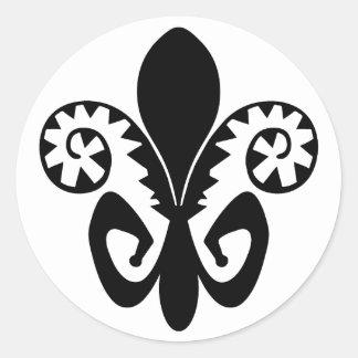 Jazz Fleur DE (zwart) lis Ronde Sticker