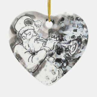 """""""Jazzy Kerstman """" Keramisch Hart Ornament"""