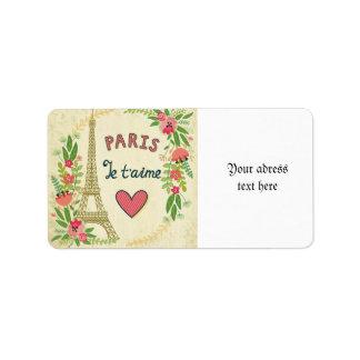 je t'aime, Parijs, wijnoogst, eiffeltower, hart, Etiket