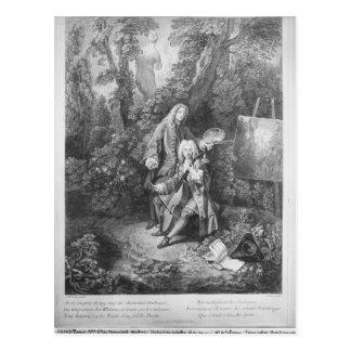 Jean Antoine Watteau en vriend Monsieur Briefkaart