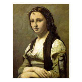 Jean-Baptiste-Camille Corot de Vrouw met een Parel Briefkaart