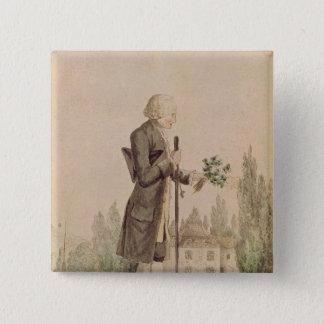 Jean-Jacques Rousseau die Kruiden verzamelen Vierkante Button 5,1 Cm