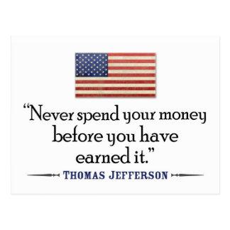 Jefferson: Besteed nooit geld vóór… Briefkaart