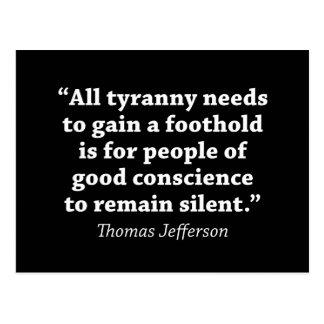 Jefferson: Niet blijf stil Briefkaart
