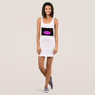 Jersey van vrouwen tankkleding met lippenontwerp mouwloze jurk