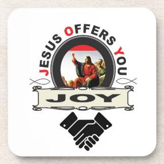 Jesus biedt u vreugdelogo aan drankjes onderzetters