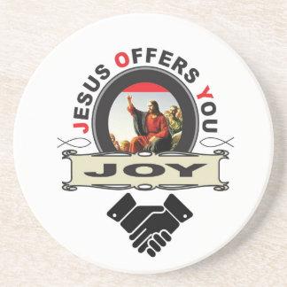 Jesus biedt u vreugdelogo aan zandsteen onderzetter