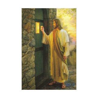 Jesus bij Uw Deur Verpakt Canvas