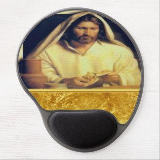 Jesus Breaking Bread Gold en Zwarte textuur Gel Muismat