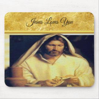 Jesus Breaking Bread Gold en Zwarte textuur Muismatten