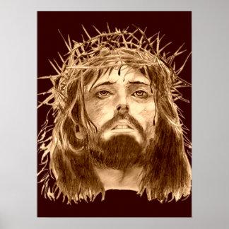 Jesus-Christus met een Kroon van Doornen Poster