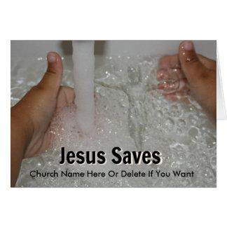 Jesus in Water met Twee Duimen op de Bevordering Briefkaarten 0