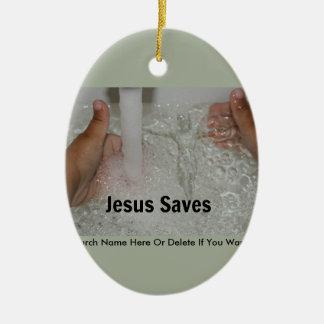 Jesus in Water met Twee Duimen op de Bevordering Keramisch Ovaal Ornament