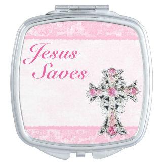 Jesus Saves Compact Mirror Handtas Spiegeltje