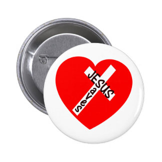 Jesus Saves (Hart) Ronde Button 5,7 Cm