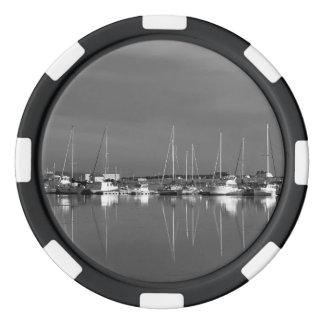 Jeton van zwart en wit fotopoker, boten pokerchips