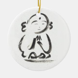 Jizo de Monnik Rond Keramisch Ornament