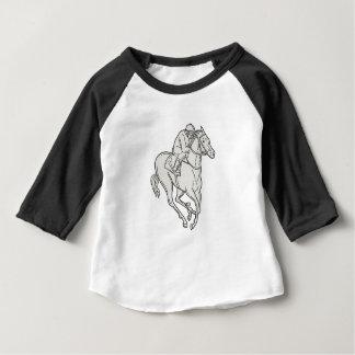 Jockey die de MonoLijn van het Volbloed- Paard Baby T Shirts
