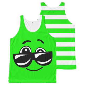 Joe Cool Green Emoji All-Over-Print Tank Top