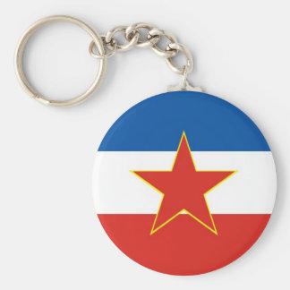 Joegoslavië vlag basic ronde button sleutelhanger