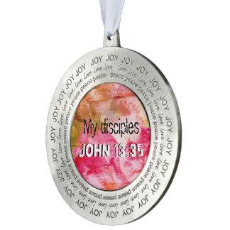 John 13:35 tin rond ornament