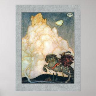 John Bauer Castle van Rooskleurige Wolken Poster