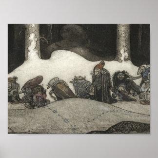 John Bauer - in de Kerstnacht Poster