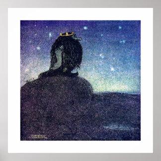 John Bauer King van de Berg van de Sleeplijn in Poster