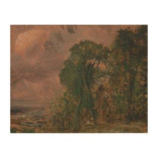 John Constable - een Uitzicht in Hampstead met Houten Canvas