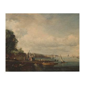 John Constable - Waterloo Brug Foto Op Hout