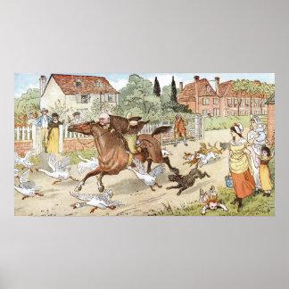 John Gilpin het berijden hoewel het dorp Poster