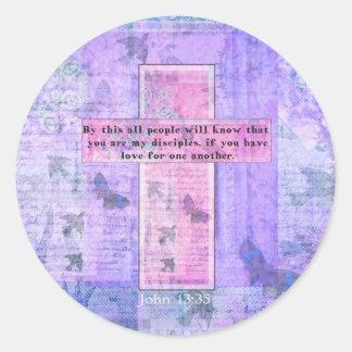 John het Citaat van de Bijbel van 13:35Uplifting Ronde Sticker