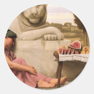 John William Godward- The Fruit Verkoper Ronde Sticker