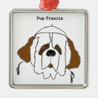 Jong Francis voor Kleine Punten Zilverkleurig Vierkant Ornament