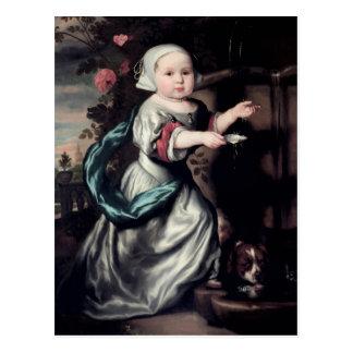 Jong meisje bij een fontein, 1662 briefkaart