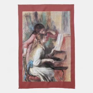 Jonge meisjes bij de piano door Pierre Renoir Theedoek