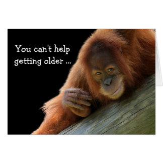 Jonge Orangoetan die Oudere Verjaardag krijgen Briefkaarten 0