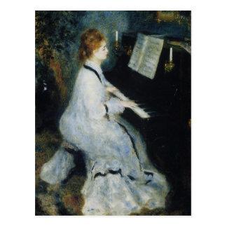 Jonge Vrouw bij de Piano door Renoir Briefkaart