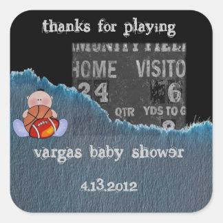Jongen-baby douche vierkante stickers