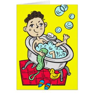 Jongen die Bad nemen Briefkaarten 0