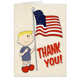 Jongen die een Vlag van Verenigde Staten houden Kaart