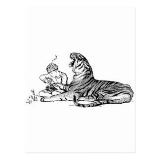 Jongen en Tijger Briefkaart